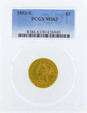 1893-S $5 Liberty Head Half Eagle Gold Coin PCGS MS63