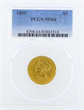 1899 $5 Liberty Head Half Eagle Gold Coin PCGS MS64