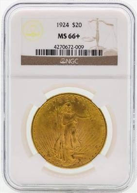 1924 $20 St. Gaudens Double Eagle Gold Coin Ngc Ms66+