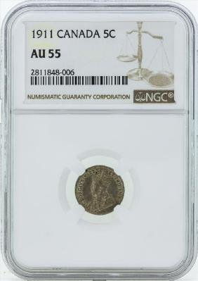 1911 Canada 5 Cent Coin NGC AU55