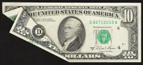 1981A $10 Federal Reserve Note ERROR Foldover