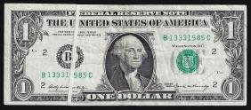 1969 $1 Federal Reserve Note Gutter Fold ERROR