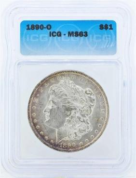 1890-O $1 Morgan Silver Dollar Coin ICG MS63
