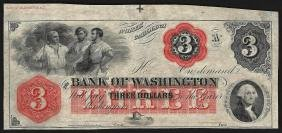 1800's $3 The Bank of Washington North Carolina