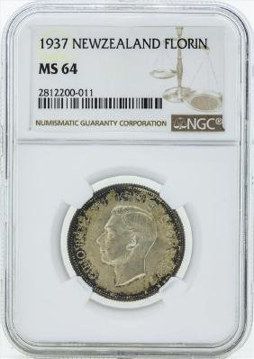 1937 New Zealand Florin Silver Coin NGC MS64