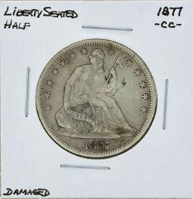1877-CC Seated Liberty Half Dollar Coin Damaged