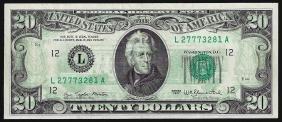 1977 $20 Federal Reserve Note Full Offset ERROR