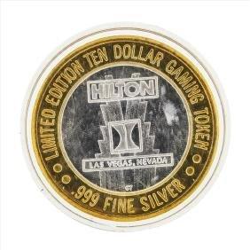 .999 Silver Hilton Las Vegas $10 Casino Gaming Token