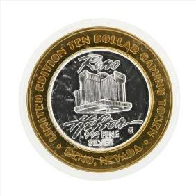 .999 Silver Reno Hilton $10 Casino Gaming Token Limited