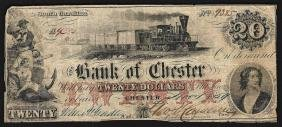1859 $20 The Bank of Chester Obsolete Bank Note