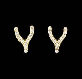 14KT Yellow Gold Ladies 0.10ctw Diamond Wishbone Stud