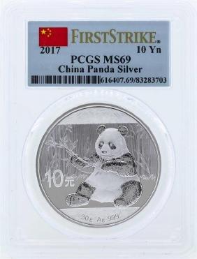 2017 China 10 Yuan Silver Panda Coin PCGS MS69