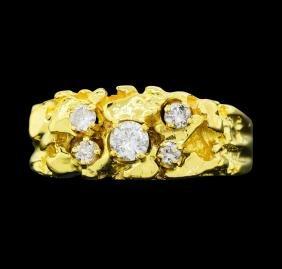 14KT Yellow Gold Men's 0.40ctw Diamond Ring