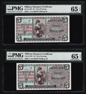 (2) Consecutive $5 Military Payment Certificates Series