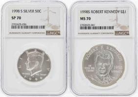 1998-S Kennedy Half Dollar NGC SP70 & 1998-S $1 Kennedy