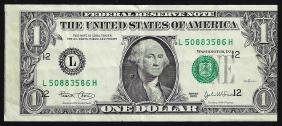 2003 $1 Federal Reserve Note Misalignment ERROR