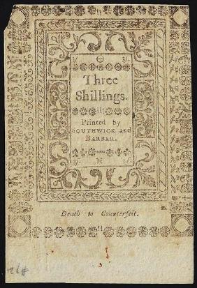 1786 Three Shillings Rhode Island Colonial Currency