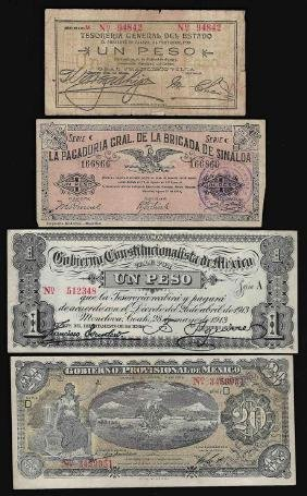 Assorted Group of 1913-1914 Mexico Peso Notes