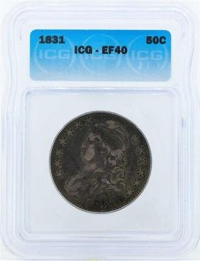 1831 Capped Bust Silver Half Dollar Coin ICG EF40