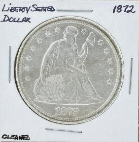 1872 $1 Seated Liberty Silver Dollar Coin Cleaned