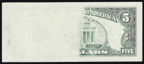 1995 $5 Federal Reserve Note Insufficient Inking ERROR