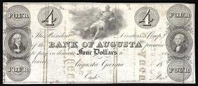 1800s $4 The Bank of Augusta Obsolete Bank Note