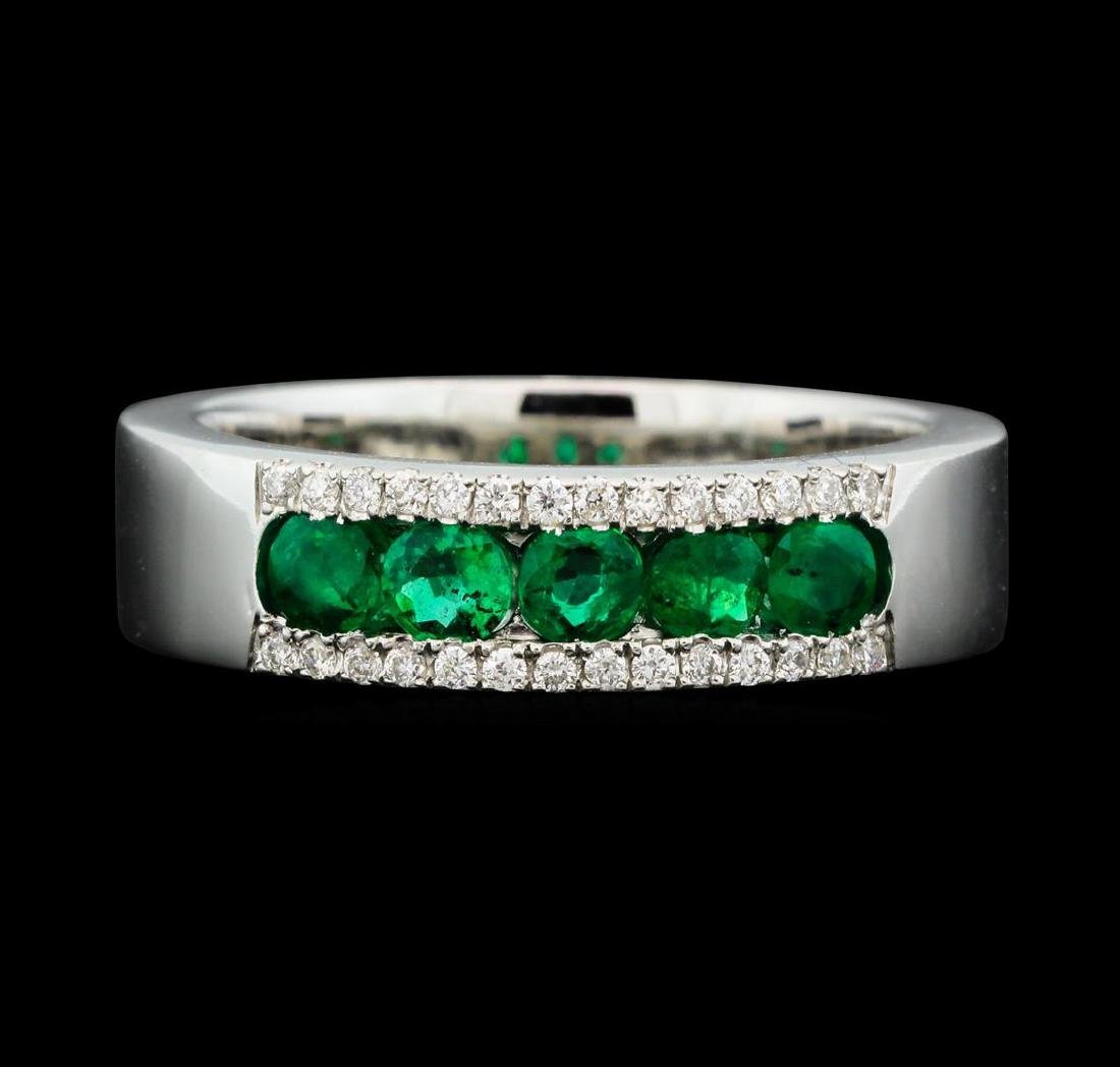 14KT White Gold 0.60ctw Emerald and Diamond Ring