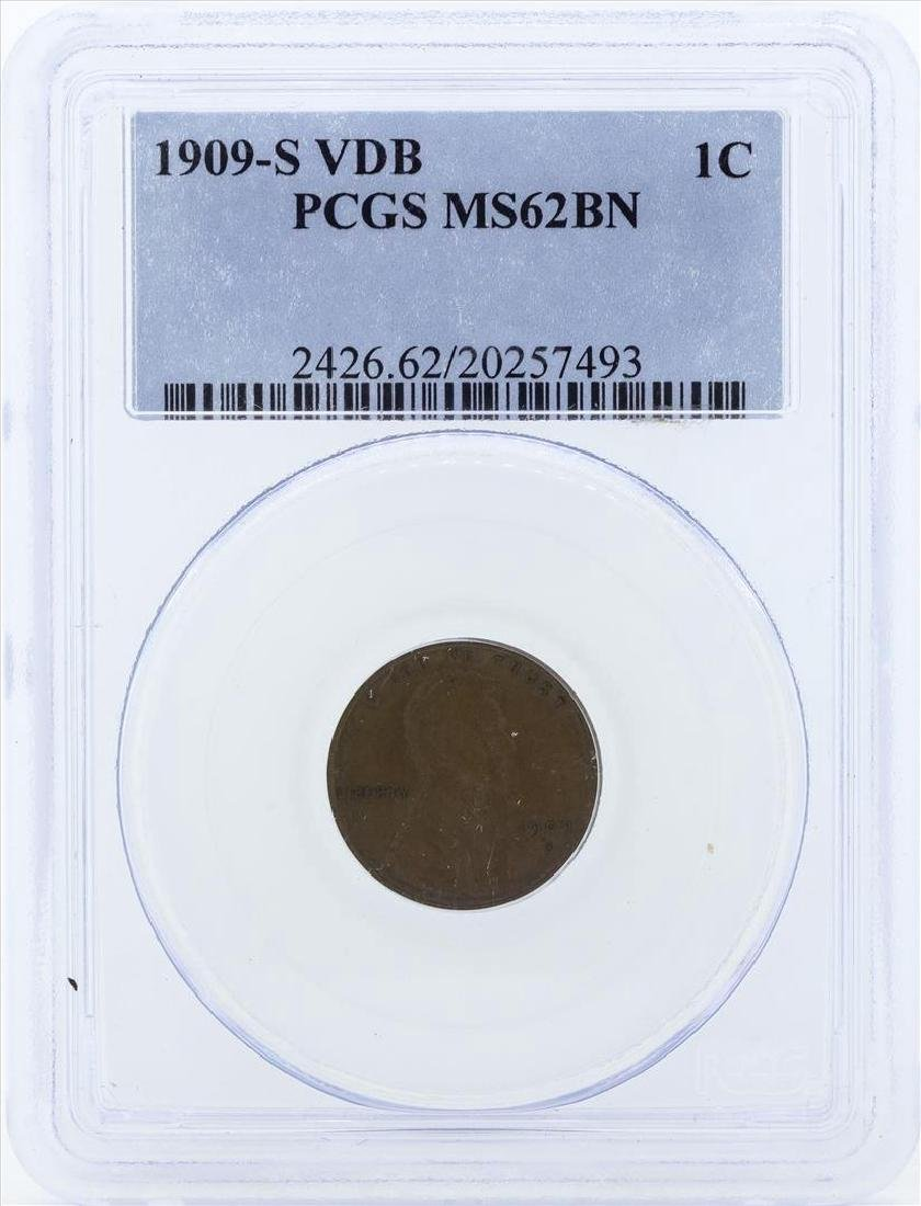1909-S VDB Lincoln Wheat Cent PCGS MS62BN