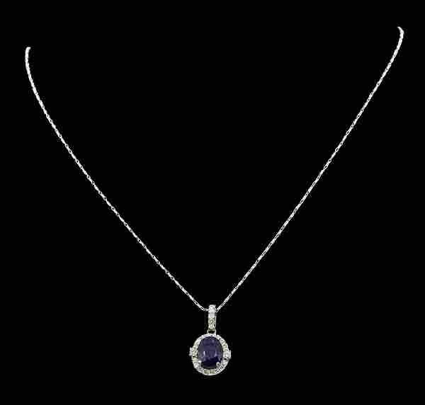 14K White Gold 4.07 ct. Tanzanite and Diamond Pendant
