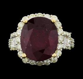 14KT Yellow Gold 10.24ct Ruby And Diamond Ring