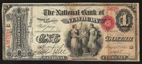 1865 $1 National Bank Newbury State Of Vermont Currency