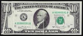 1981 $10 Federal Reserve Note 5 Gutter Fold ERRORS