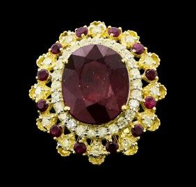 14KT Yellow Gold 16.15ctw Ruby And Diamond Ring