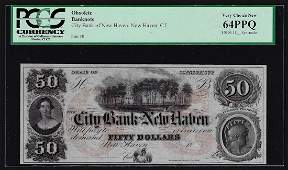 1800's $50 City Bank of New Haven, CT Obsolete Bank