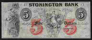 1800s 5 The Stonington Bank of Connecticut Obsolete
