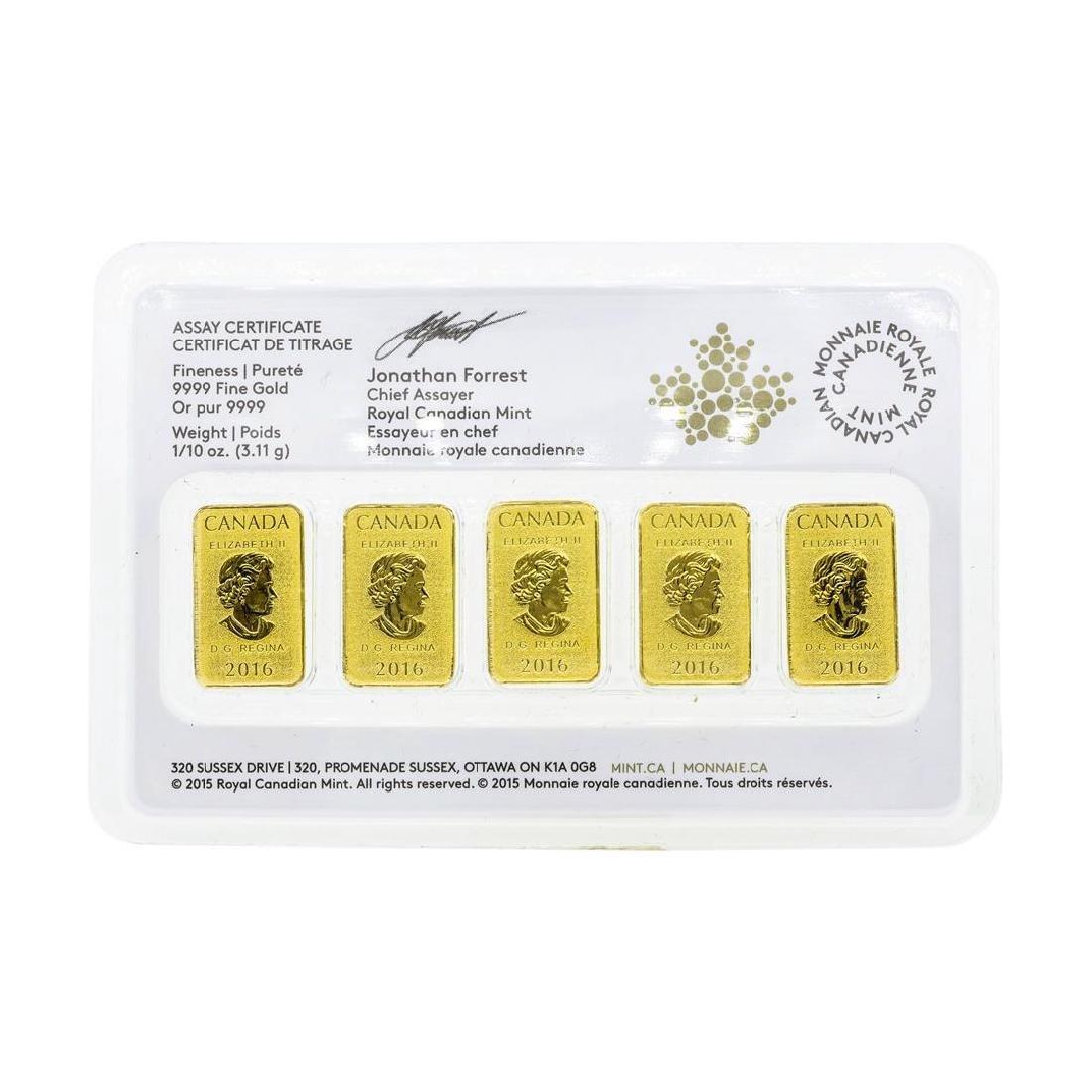 Lot of (5) 2016 1/10oz Royal Canadian Mint .9999 Fine