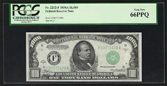 1934A $1,000 Federal Reserve Note Atlanta PCGS Gem New