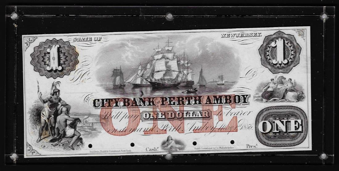 1856 $1 City Bank of Perth Amboy Obsolete Proof Note