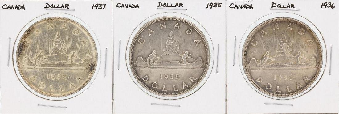Lot of (3) 1935-1937 Canada $1 Silver Coins