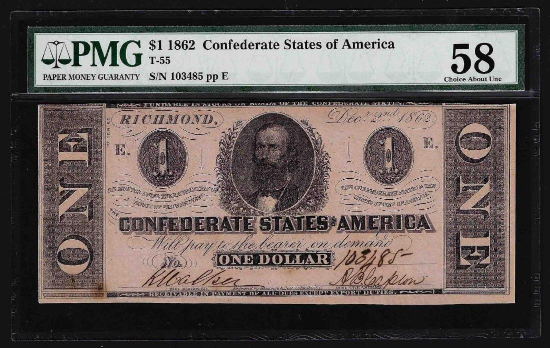 1862 $1 Confederate States of America Note PMG Choice