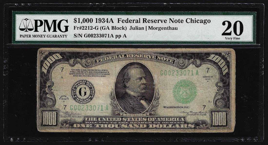 1934A $1000 Federal Reserve Note Chicago PMG VF20