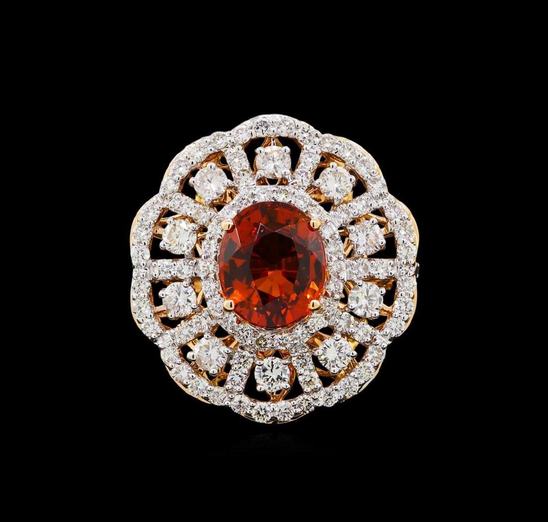 18KT Rose Gold 6.19ct Spessartite Garnet and Diamond