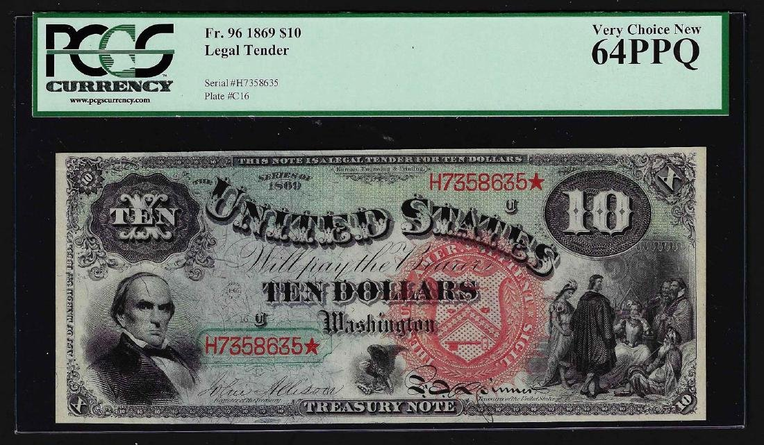 1869 $10 Legal Tender Large Red Seal Rainbow Note PMG