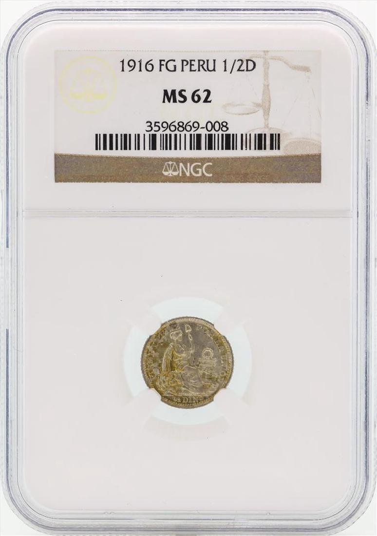1916 Peru 1/2 Dinero Silver Coin NGC MS62