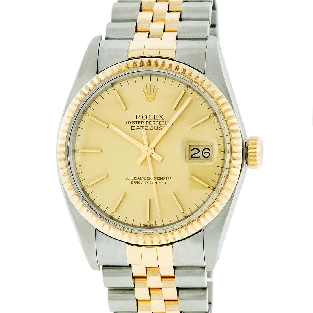 Rolex Mens Two Tone 14KT Yellow Gold Datejust