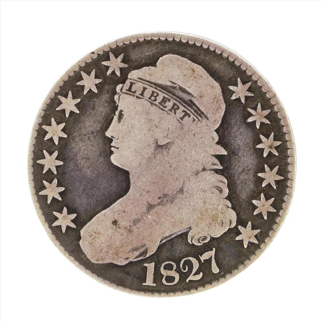 1827 Curled Capped Bust Half Dollar Coin