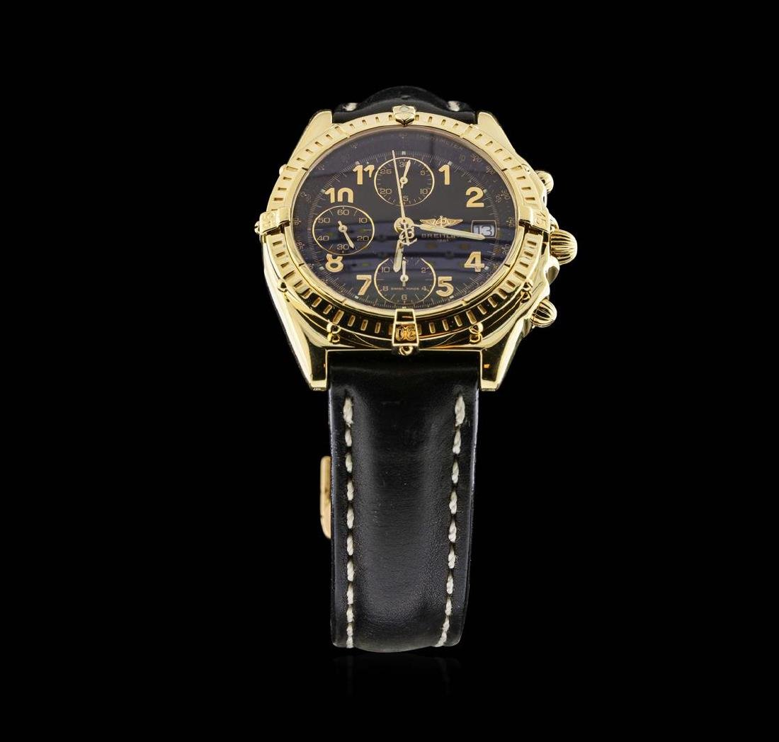 18KT Yellow Gold Breitling Chronomat Watch with Leather