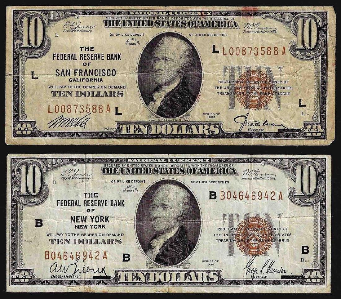 Lot of (2) 1929 Federal Reserve Bank National Currency