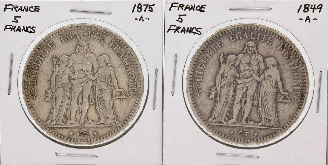 Lot of (4) France 5 Francs Silver Coins