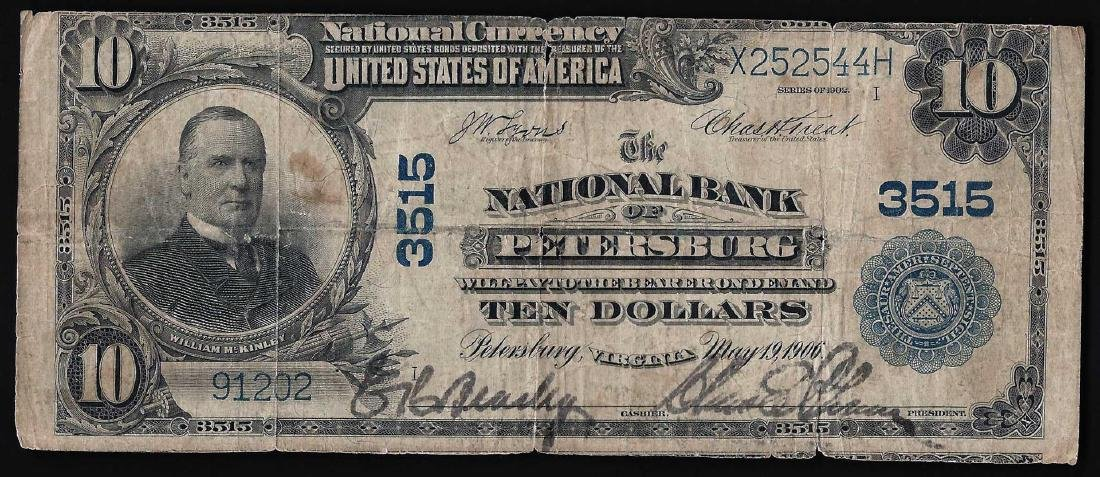 1902 $10 The National Bank of Petersburg Currency Note